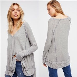 Free People Gray Laguna Thermal Waffle Knit Top